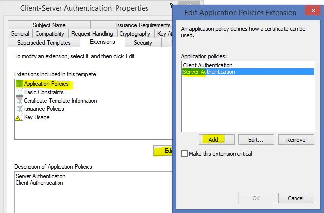 How to deploy remote desktop services 2012 r2 certificates using on the extensions tab select appliaction policies and click edit add the server authentication to the policies yadclub