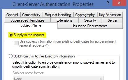 How to deploy remote desktop services 2012 r2 certificates using on the subject name tab change the option to supply the request yadclub Images